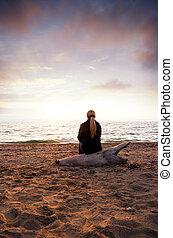 silhouette, zeekust, vrouwlijk
