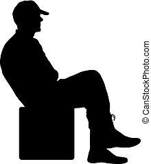 silhouette, zittende , achtergrond, stoel, witte , man