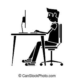 silhouette, zittende , draagbare computer, ontwerp, bureau, gebruik, man