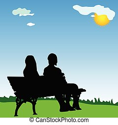 silhouette, zittende , paar, parkeer bank, vector