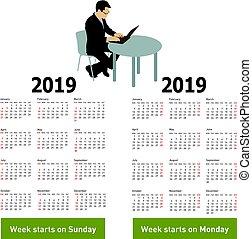 silhouette, zitting achterop, computer, 2019, modieus, kalender, man