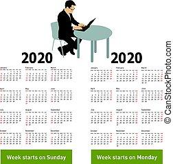 silhouette, zitting achterop, computer, 2020, modieus, kalender, man