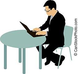 silhouette, zitting achterop, zwarte achtergrond, computer, witte , man