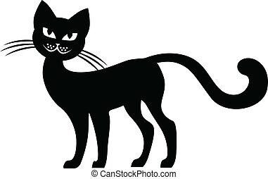 silhouette, zwarte kat