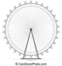 silhouetted, amusement, wheel., openwork, hoog, ferris, draaimolen, fun., design.