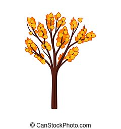Silhouetted autumn tree with leaves. Vector illustration on a white background.