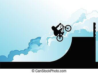 silhouetted, bmx, jinete