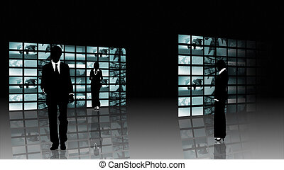 silhouetted, busines, concept, collaboration