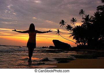 silhouetted, frau, auf, a, sandstrand, mit, palmen, und, steinen, an, sonnenuntergang