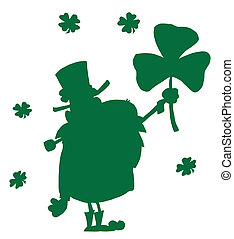 Male Leprechaun Holding Up A Clover
