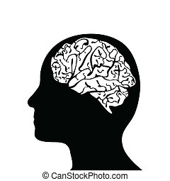 Silhouetted head and brain - Black side silhouette of human...