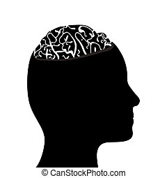 Silhouetted head and brain