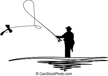 Silhouetted man casting fishing fly - Cartoon illustration...
