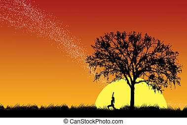 silhouetted of a woman Yoga in the morning under the tree and falling star background