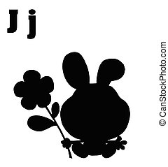Silhouetted Rabbit  - Silhouetted  Rabbit With Letters J