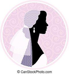 silhouetted, verticaal, van, een, vrouw, in profiel, in,...