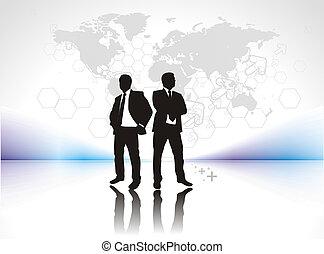 silhouetted, zakenman