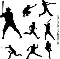 silhouetten, 2, baseball, sammlung