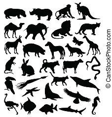 silhouetten, animals3, sammlung