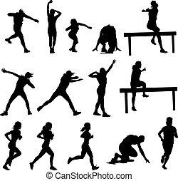 silhouetten, athletik