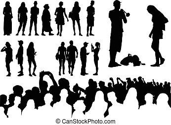 silhouetten, aus, fünfzig