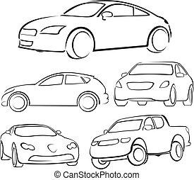 silhouetten, autos