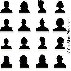 silhouetten, avatars