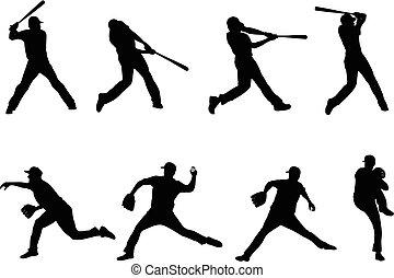 silhouetten, baseball, 4, sammlung