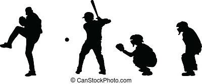 silhouetten, baseball