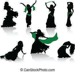 silhouetten, bauch, dance., schoenheit