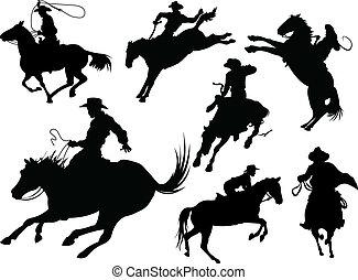 silhouetten, cowboys