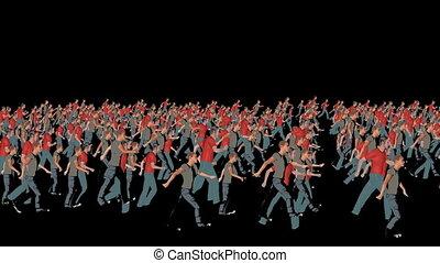 silhouetten, crowd, abbildung, spaziergang