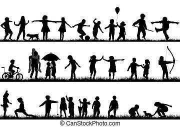 silhouetten, draußen, satz, spielende kinder