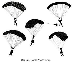 silhouetten, fallschirmspringer