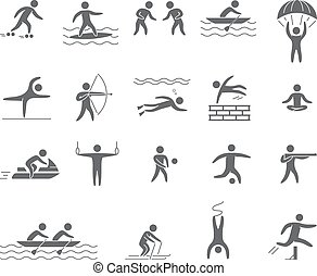 silhouetten, figuren, von, athleten