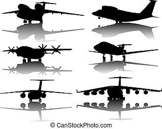 silhouetten, flugzeuge