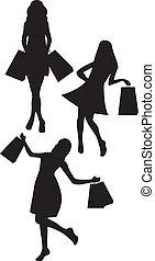 silhouetten, frau- einkaufen