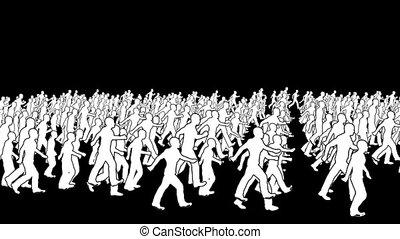 silhouetten, gehen, crowd, schleife