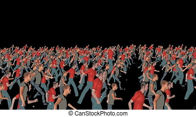 silhouetten, gehen, crowd