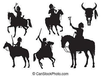 silhouetten, indianer