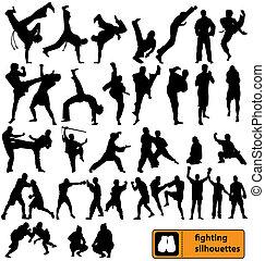 silhouetten, kämpfen, sammlung
