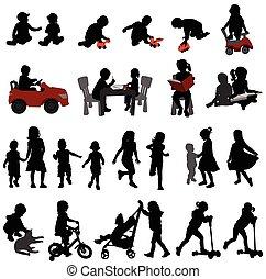 silhouetten, kinder, kleinkinder