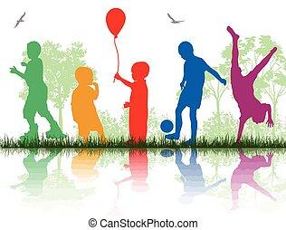 silhouetten, kinder, spielen, gefärbt