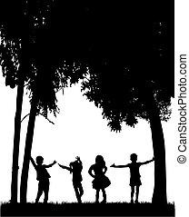 silhouetten, kinder, spielen