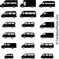 silhouetten, kleintransport, satz