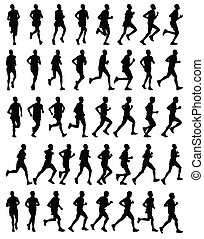 silhouetten, läufer, marathon