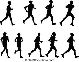silhouetten, läufer, sammlung
