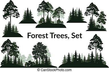 silhouetten, landschaften, bäume