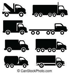 silhouetten, lastwagen