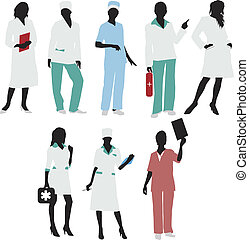 silhouetten, mädels, doktor, medizin